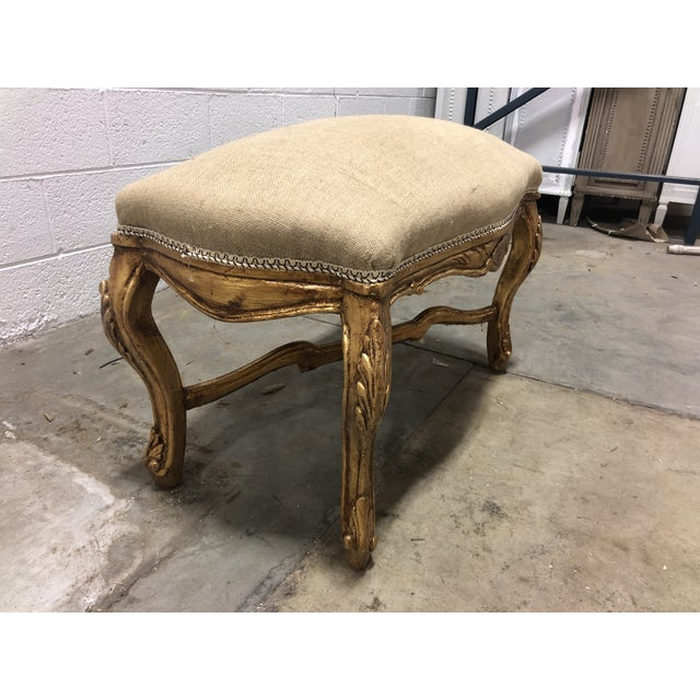 Vintage Louis XV Giltwood Curved Top Bench For Sale - Image 4 of 5