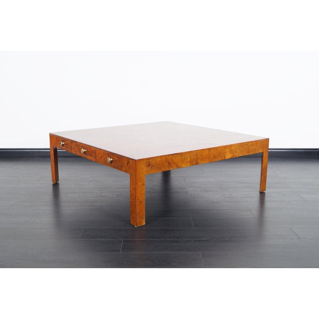 Danish Modern Vintage Italian Burl Wood Coffee Table by Cannell & Chaffin For Sale - Image 3 of 8