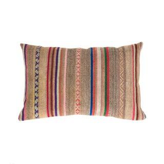 Grey & Tan Striped Handwoven Peruvian Pillow