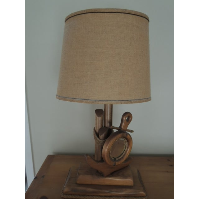 Wood Nautical Hand Crafted Pine Wood Lamps - A Pair For Sale - Image 7 of 13