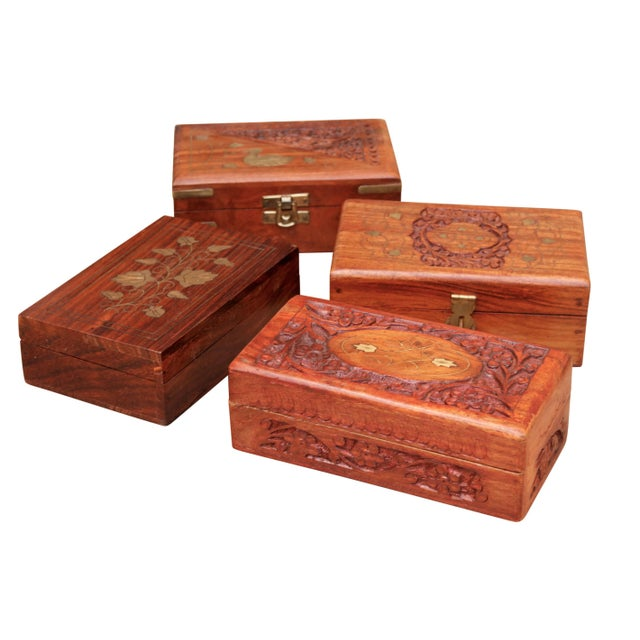 Carved Trinket Boxes With Brass Inlay, Set of 4 For Sale - Image 10 of 10