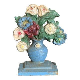 Vintage 1940s Cast Iron Painted Flower Basket Doorstop For Sale