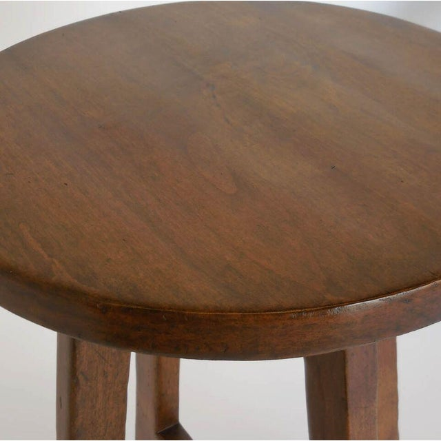 1920s Custom Round Walnut Wood Side or End Table For Sale - Image 5 of 6