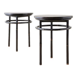 Mid-Century Ebonized Bamboo Round Drinks Tables - A Pair