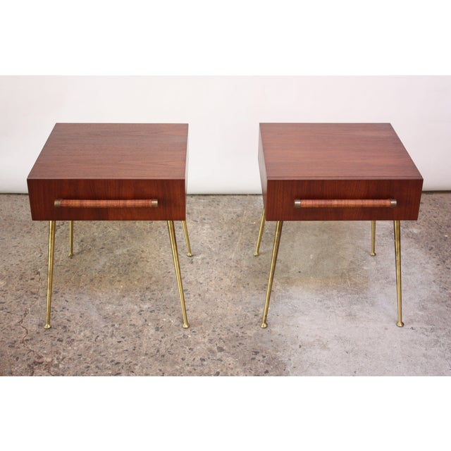 Mid-Century Modern Pair of T.H. Robsjohn-Gibbings Walnut and Brass Nightstands For Sale - Image 3 of 11