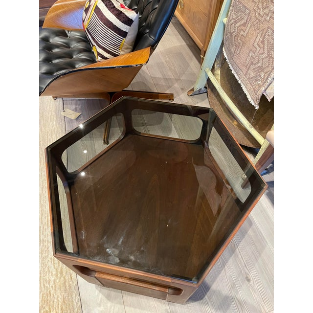 1970s Vintage Browne Salzman Octagonal Smoked Glass Side Table For Sale - Image 5 of 7