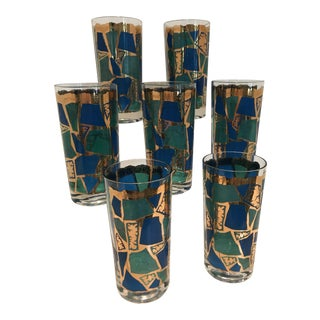 1960s Abstract Georges Briard Teal Blue and Green Highball Glasses - Set of 7
