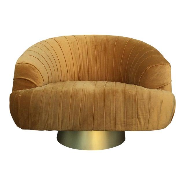 Hollywood Regency Gold Velvet W Chair - Image 1 of 6