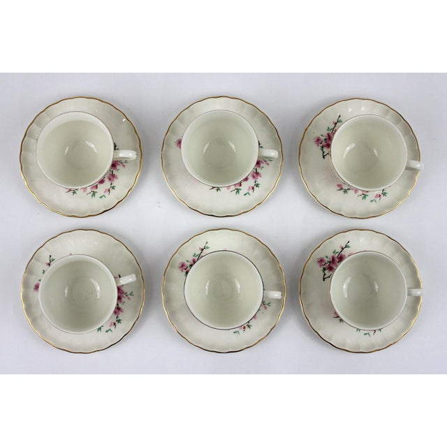 Boho Chic 1940's Peach Blossoms Bolero China Teacups & Saucers - Set of 6 For Sale - Image 3 of 6