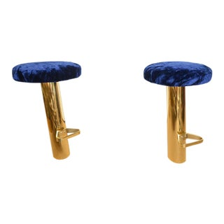 Set of 4 Rare Polished Brass Tilted Bar Stools, attributed to Karl Springer For Sale