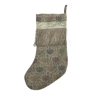 Textile Christmas Stocking with Fringe For Sale