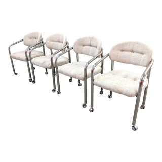 Modern Chrome Barrel Shaped Rolling Chairs - Set of 4 For Sale