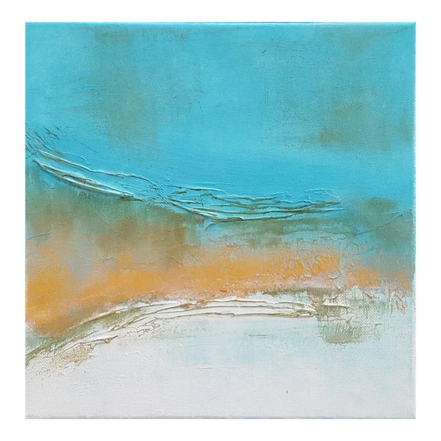 Abstract Modern Textured Metallic Gold & Turquoise Painting on Canvas For Sale