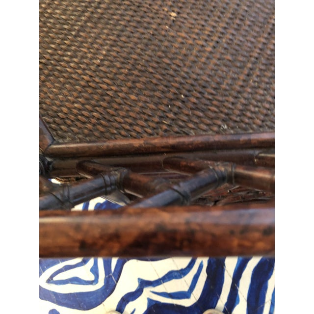 Wood 1960s Burnt Bamboo Rattan Tray Table For Sale - Image 7 of 9