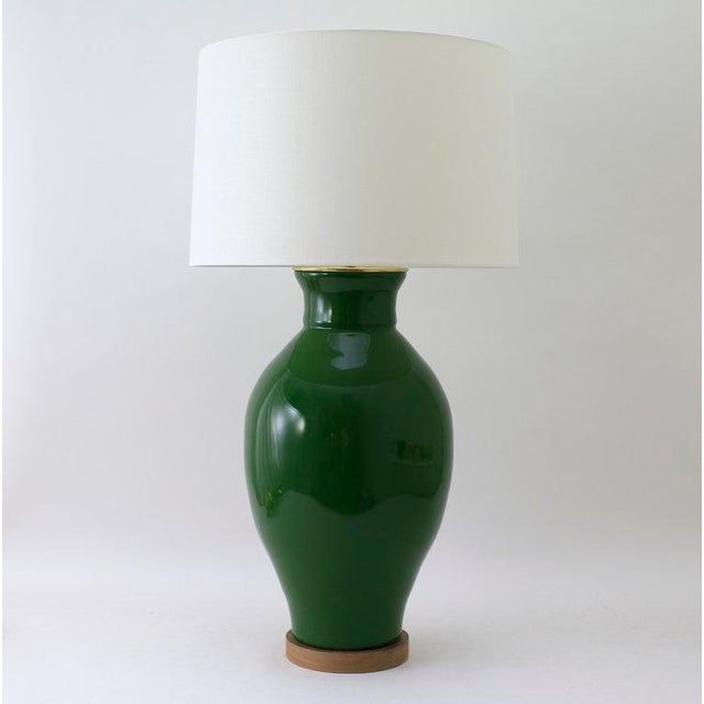 """Not Yet Made - Made To Order Paul Schneider Ceramic """"Matagorda"""" Lamp in Glossy Army Green Glaze For Sale - Image 5 of 5"""