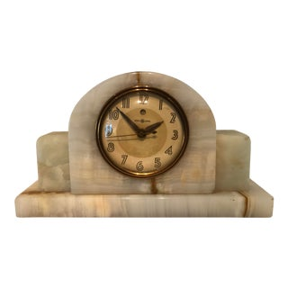 General Electric Art Deco Alabaster Mantel Clock For Sale