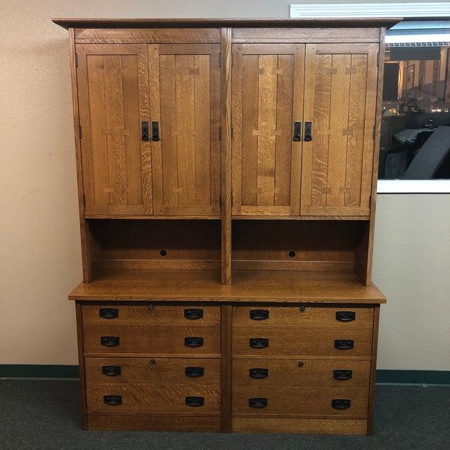 Stickley Custom Oak Office Workstation For Sale - Image 11 of 12