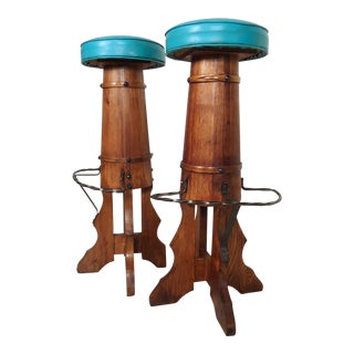 Vintage Modern Wooden Counter Stools For Sale
