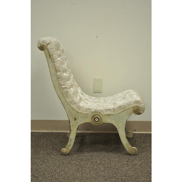 Vintage Japanese Obi Chair Slipper Carved Wood Distress Painted Accent Chair For Sale - Image 4 of 11