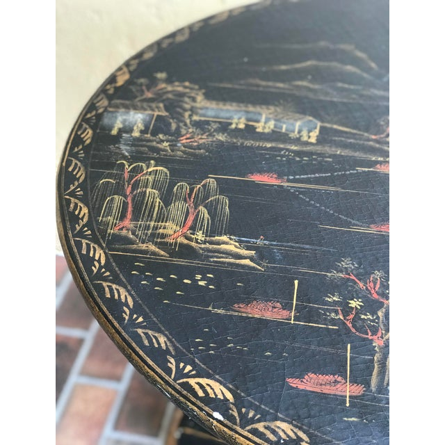 1990s 1990s Chinoiserie Painted Round Game Center Table For Sale - Image 5 of 13