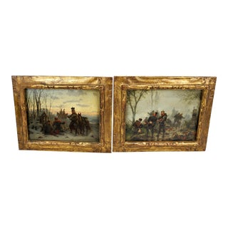 Antique Christian Sell German Military Paintings - a Pair For Sale