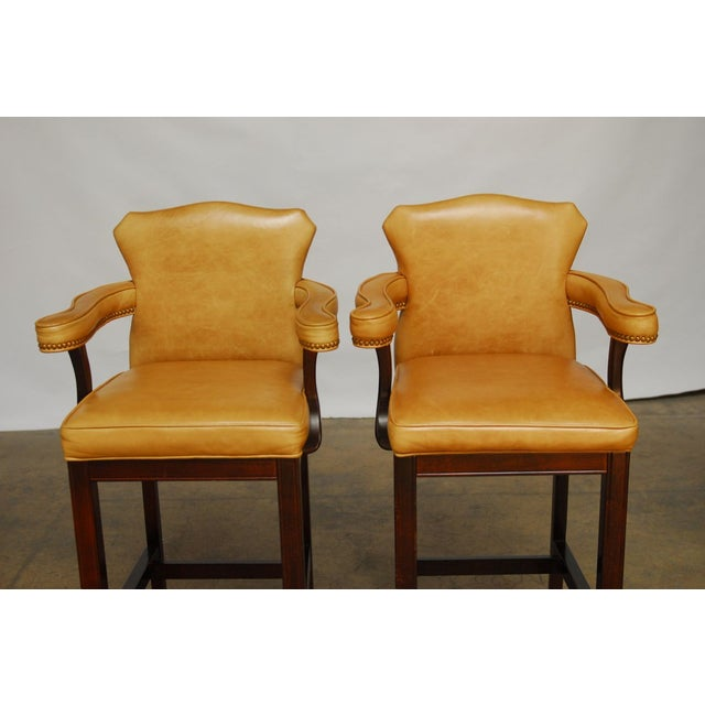 French Leather Moustache Bar Stools - Pair - Image 2 of 7