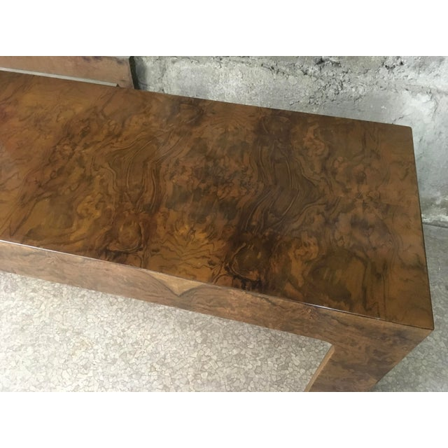 1970s Burlwood Console Table For Sale - Image 4 of 11