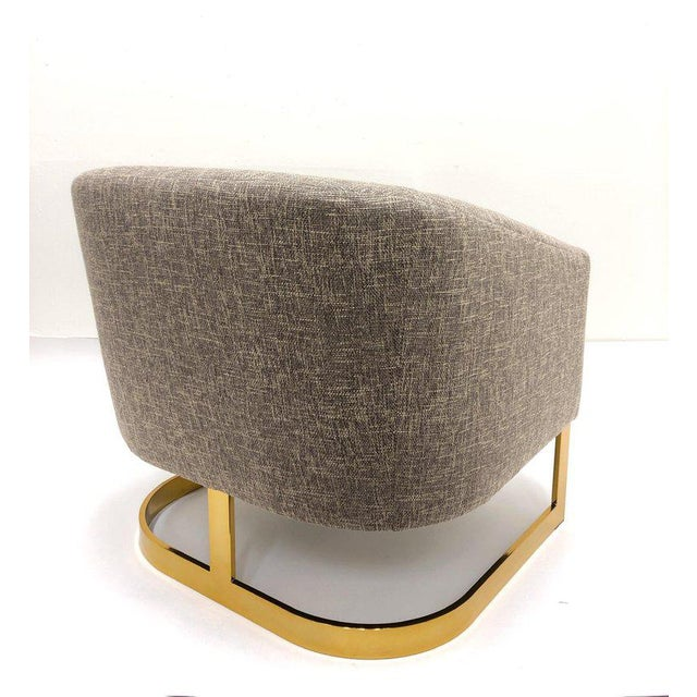 Milo Baughman Brass and Fabric Lounge Chairs - a Pair For Sale In Palm Springs - Image 6 of 9