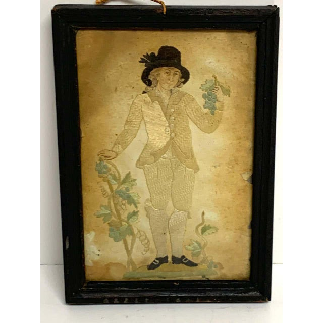 Early 20th Century Framed Two Sided English Silk Embroideries of Regency Twins For Sale In West Palm - Image 6 of 8