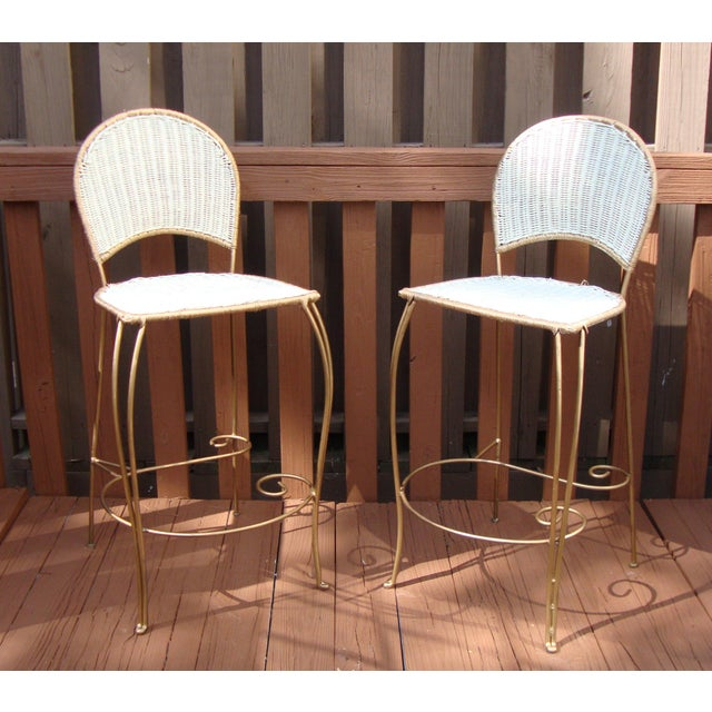 Gilt Wicker Wrought Iron Bar Stools - A Pair - Image 2 of 11