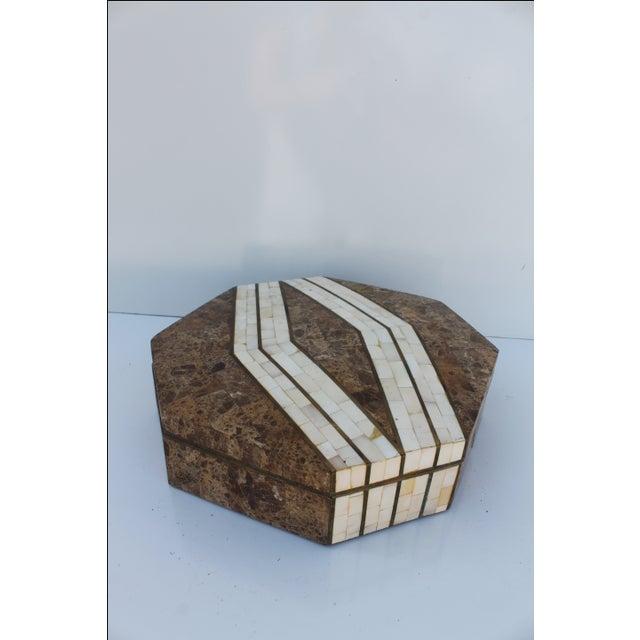 Maitland-Smith Octagonal Stone & Bone Box - Image 8 of 8