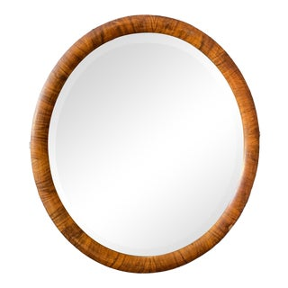 Vintage Rosewood Oval Mirror For Sale
