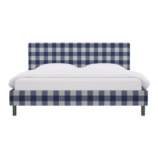 King Tailored Platform Bed in French Blue Check For Sale