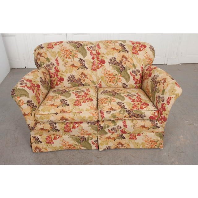 Red English Vintage Settee Love Seat For Sale - Image 8 of 12