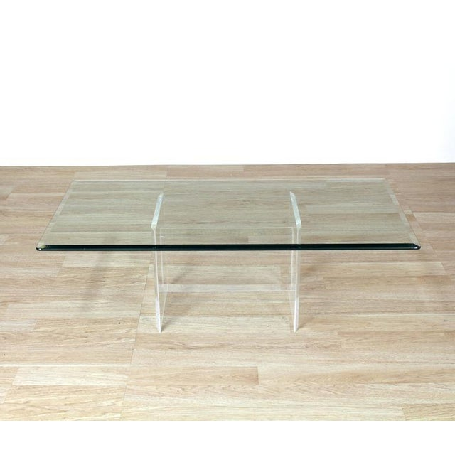 Glass Lucite Base Glass Top Rectangular Coffee Table For Sale - Image 7 of 7