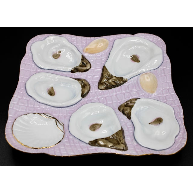 Coastal 1960s Lavender Blush Oyster Plate For Sale - Image 3 of 9
