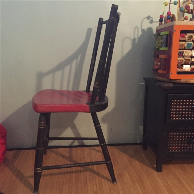 Antique Painted Red & Black Children's Chair - Image 3 of 5