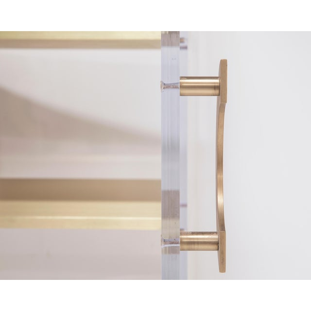 Gold Custom Lucite Cabinet With Brass Shelves For Sale - Image 8 of 13