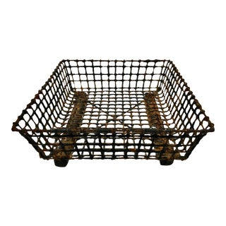 Vintage French Wire Oyster Basket For Sale