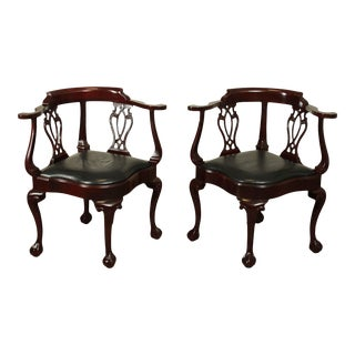 Hancock & Moore Chippendale Style Mahogany Ball & Claw Corner Chairs - a Pair For Sale