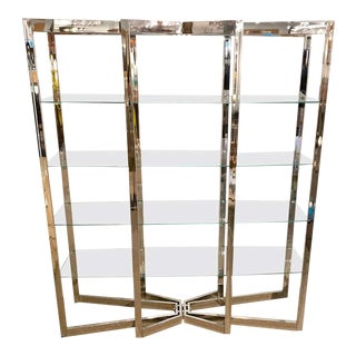 Midcentury Chrome and Glass Elongated Étagère For Sale