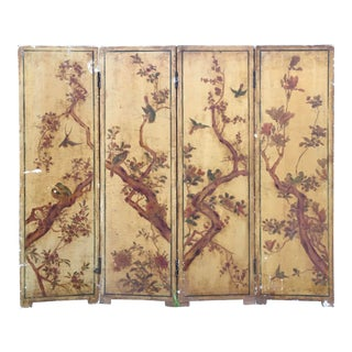 Antique Victorian Hand Painted Folding Screen on Wood and Plaster For Sale