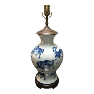 Vintage Classic Porcelain Asian Style Lamp For Sale