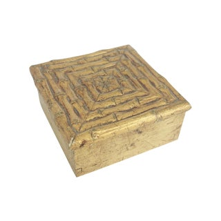 Vintage Gilt Gold Faux Bamboo Box For Sale