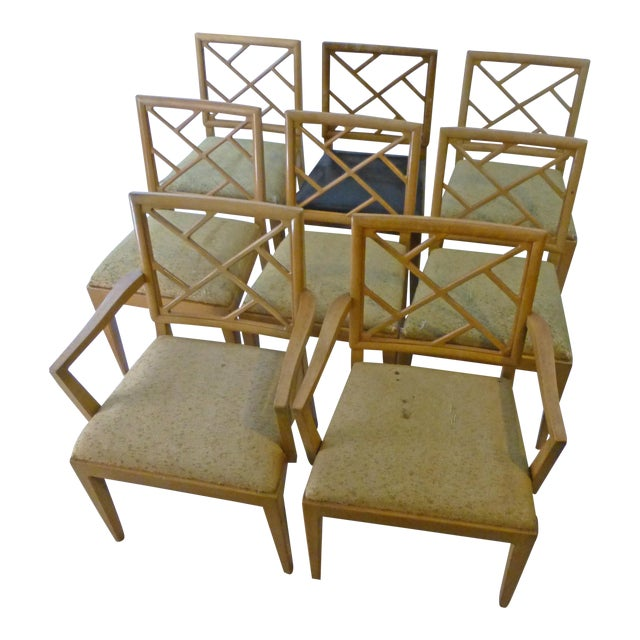 1940s Landstrom Mid-Century Modern Lattice Back Dining Chairs - Set of 8 For Sale