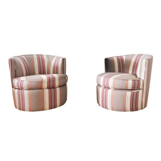 Pair of Room & Board Otis Fabric Swivel Chairs For Sale