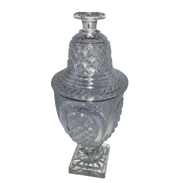 English 19th Century Vintage Crystal Covered Sweet Meat Urns - a Pair For Sale - Image 3 of 7
