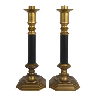 Neoclassical Tradtional Brass Candlesticks- a Pair For Sale