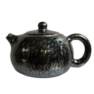 Chinese Handmade Jianye Clay Bronze Black Glaze Decor Teapot Display For Sale