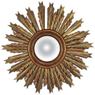 Spanish Carved Sunburst Mirror, Circa 1930 For Sale